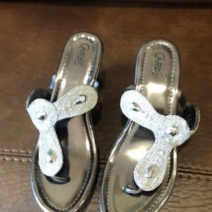 Very cute embellished silver shoes.
